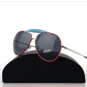 Prada Special Eyewear Orange and Blue Aviators